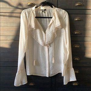 Paige Silvette Ruffle Neck Bell Sleeve Silk, XS